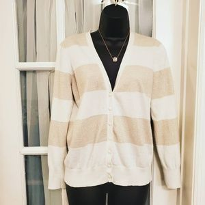 Off White and Gold Stripe Loft Sweater
